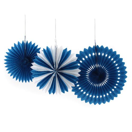 「ペーパーファン アソート ブルー」価格:242円/サイズ:Φ31cm・25cm・22cm