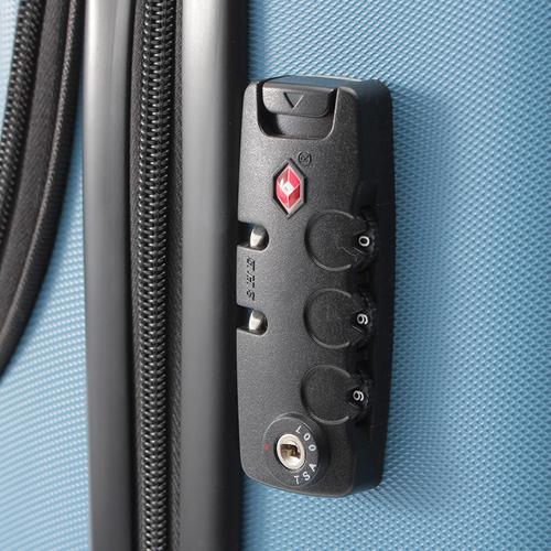 「スーツケース ノートパソコン収納ポケット付き」本体を開かなくても外側に付いた ファスナーから簡単にPCなどの荷物を 取り出すことができます。TSAロックが付いています。