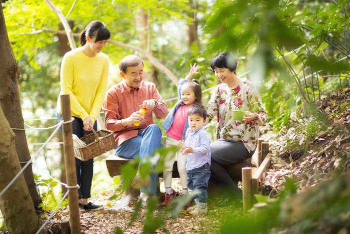 森の中 家族でピクニックイメージ