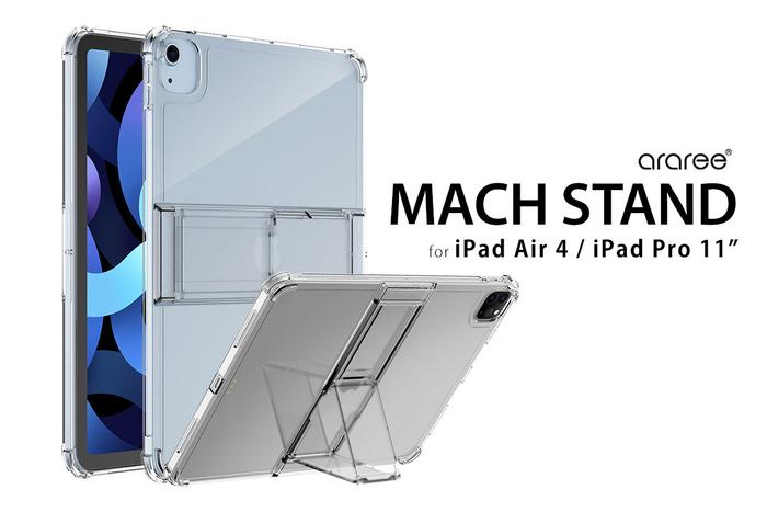 araree、折り畳みスタンド付きiPad Air/iPad Pro11専用クリアケース「Mach Stand Case」