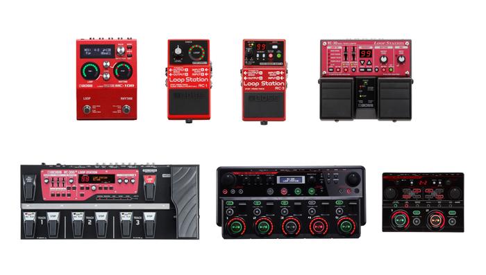 BOSS ループ・ステーション・シリーズ 上段左からRC-10R、RC-1、RC-3、RC-30、 下段左からRC-300、RC-505、RC-202