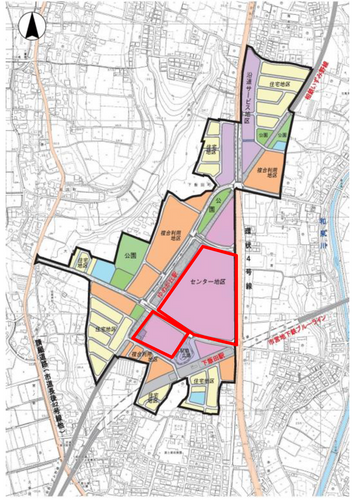 土地利用計画図 (赤枠部分が大規模集客施設の開発計画地)