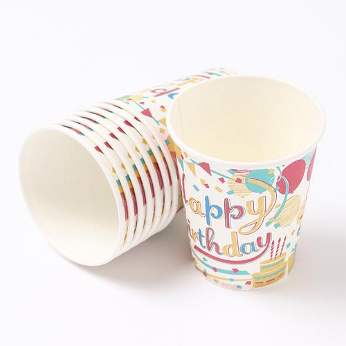 「ペーパーカップ ハッピーバースデイ パーティー」価格:107円/サイズ:Φ7.5×H9cm/容量:約220ml/8個入り