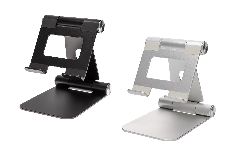 スマートフォン&タブレット用スタンドOWL-STD06はブラックとシルバーの2色