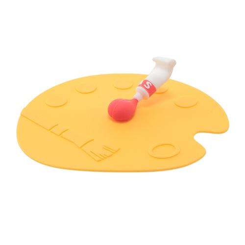 「カップリドPaint」価格:290円サイズ:φ12×H4cm/電子レンジ可/食洗機・オーブン不可/パレットの上に絵の具が出された、絶妙なバランスがユニークなデザインのシリコンリドです。