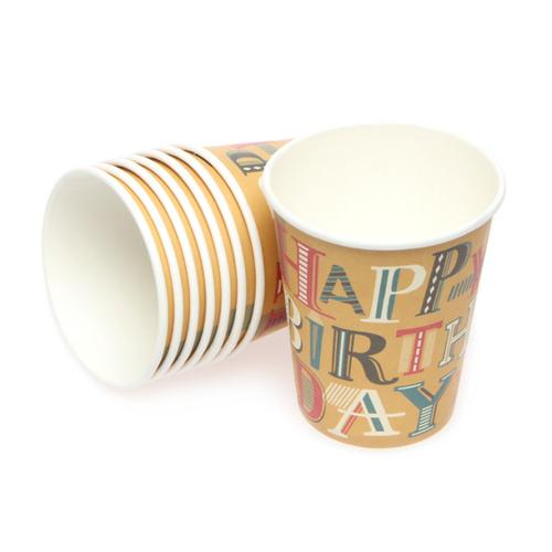 「ペーパーカップ バースデイ ペイント」価格:107円/サイズ:Φ7.5×H9cm/容量:約220ml/8個入り
