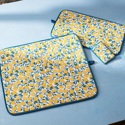 左「ドライングマット L Lemon」中央「ドライングマット M Lemon」右「マイクロファイバースポンジ 5P 」