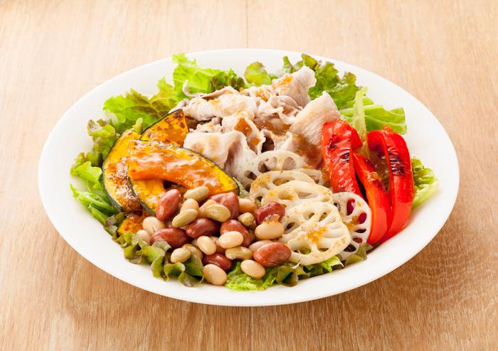 和豆と焼き野菜のサラダ(「和豆ミックス」使用)