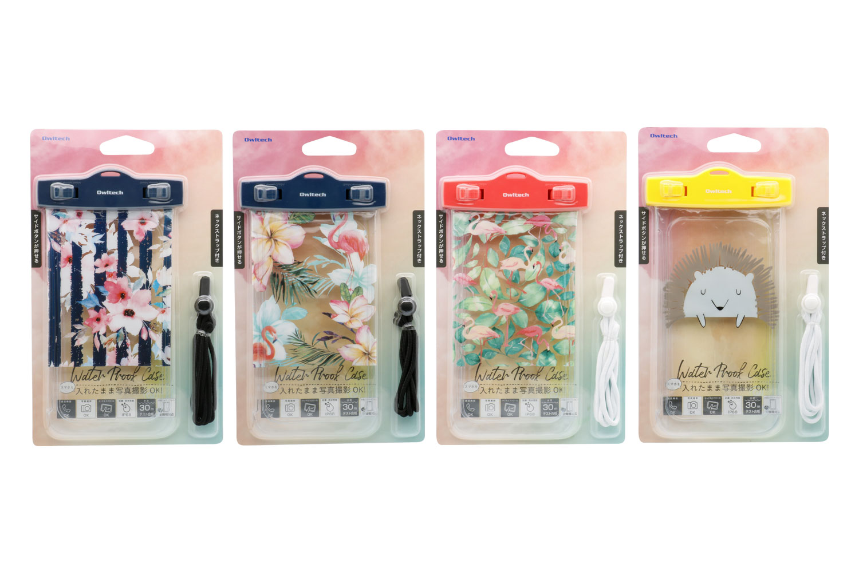 OWL-WPCSP16のパッケージ。左からストライプ、トロピカル、フラミンゴ、ハリネズミの4種類