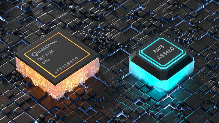 <世界初>Qualcommフラッグシップチップ「QCC5124」とams「AS3460」のデュアルチップ採用