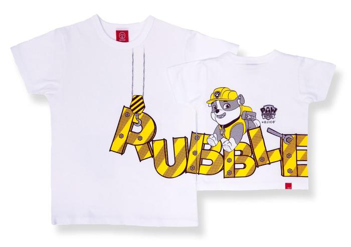 パワーブルドーザーを乗りこなし、工事作業が得意なブルドッグの男の子「ラブル」がモチーフ。 フロントからバックまで「RUBBLE(ラブル)」のロゴが大きくつながるデザインです。