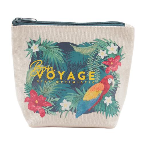 「キャンバス ポーチ Bon Voyage」価格:590円/存在感のある華やかなデザインの、使いやすい綿素材のポーチ。