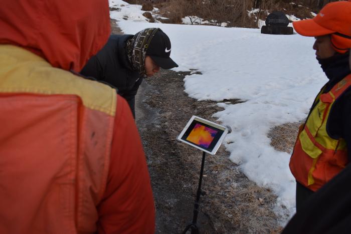 赤外線カメラを搭載したドローンの映像を、「Hec-Eye(ヘックアイ)」から確認