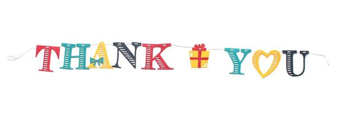 「フェルトガーランド Thank You」価格:290円/感謝の気持ちを伝えるのに最適な、フェルト製ガーランド。