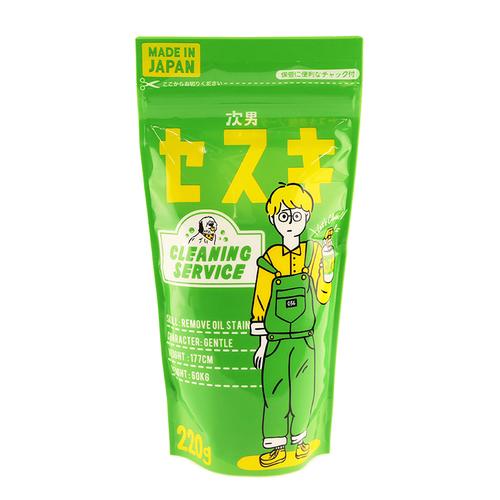 「次男セスキ 220g」価格:98円/まじめなインテリ次男セスキ。ガンコな汚れをスッキリ落とします。