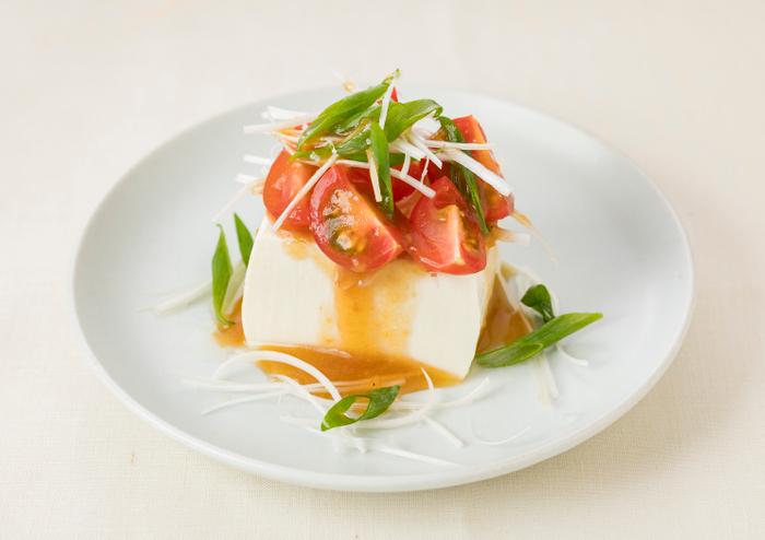 ミニトマトとねぎのおつまみ豆腐