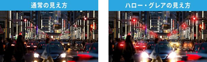 ハローによって街灯などの光の周囲にボヤっとした光の輪のようなものが現れたり、グレアによって車のヘッドライトのような強い光がぎらつくような見え方が現れることがあります。