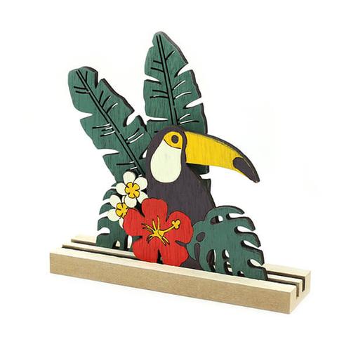 「Wood デコ Toucan」価格:429円/サイズ:W14×D4×H14cm/オニオオハシやハイビスカスなどトロピカルなモチーフをデザイン。