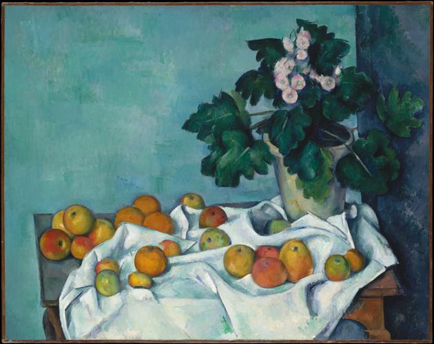 ポール・セザンヌ「リンゴと鉢植えの桜草のある静物画」