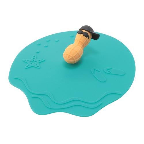 「カップリド Peanut」価格:290円/サイズ:φ12×H4cm/電子レンジ可/食洗機・オーブン不可/ビーチでのんびりくつろぐピーナッツがにくい、ASらしいデザインのシリコンリドです。