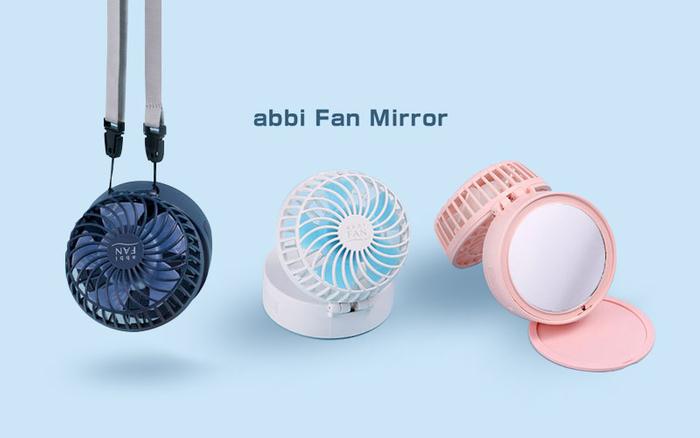 背面ミラー付きで卓上・手持ち・首かけの兼用ができる「abbi Fan Mirror」