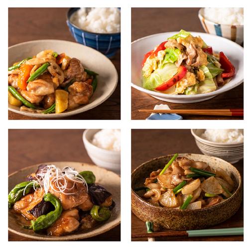 鶏と根菜の黒酢あんのたれ(写真左上)・キャベツと豚肉のふんわり卵炒めのたれ(写真右上)・なすと鶏肉の南蛮炒めのたれ(写真左下)・豚バラ焼大根のたれ(写真右下)