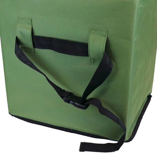 「2way宅配ボックス」本体背面には、フェンスなどに取り付けられるベルトが付いています。