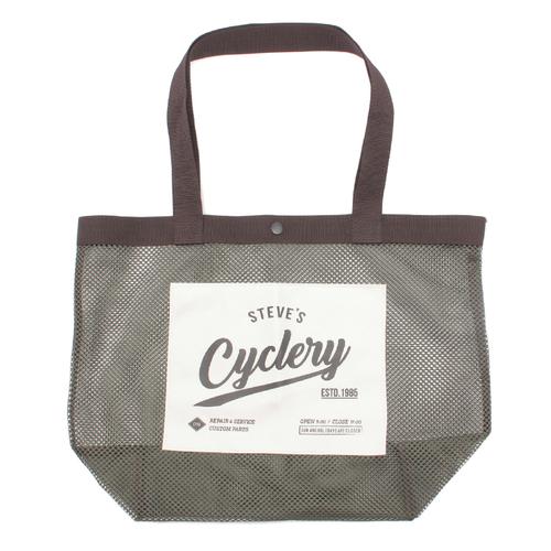 「メッシュトートバッグ」価格:590円/メッシュ素材にロゴが入ったパッチ付きトートバッグ。