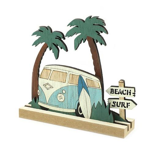 「Wood デコ Bus BL」価格:429円/サイズ:W15×D4×H14cm/レトロなバスと、サーフボードがカッコいいデザイン。