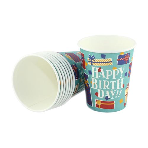 【NEW】「ペーパーカップ ハッピーバースデイ」価格:107円/サイズ:Φ7.5×H9cm/容量:約220ml/8個入り