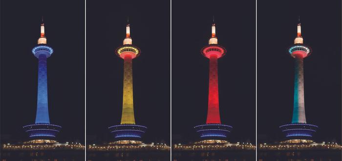 京都タワー塔体カラーライトアップイメージ(左からブルー、イエロー、レッド、ティール&ホワイト)