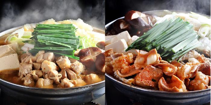 桜島鶏ちゃんこ鍋とぷりぷりモツの辛味噌鍋