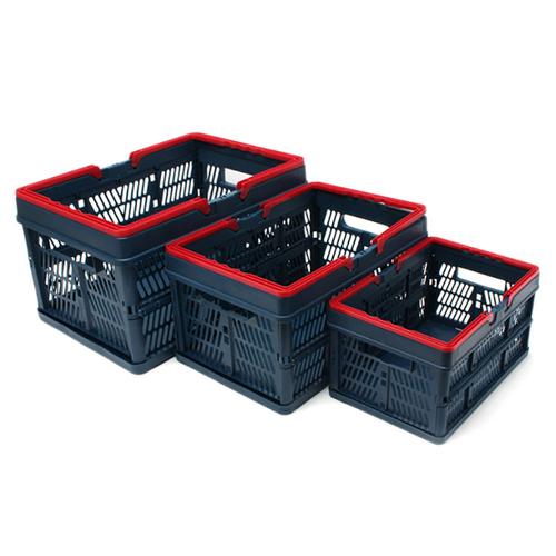 「コンテナボックス(ネイビー)」価格:490~1,180円/サイズ:S、M、L/折り畳み可能なボックス。スタッキングもできます。