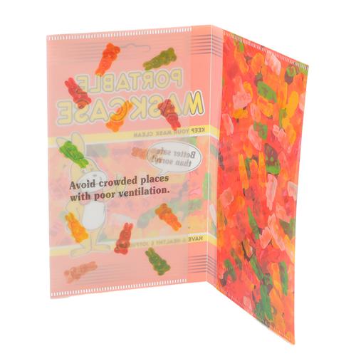 「マスクケース Gummies」お菓子のパッケージのような、キッズにぴったりのデザイン。吹き出しのセリフは「備えあれば憂いなし!」